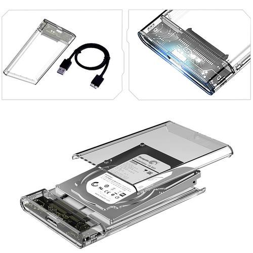 2.5 inch USB 3.0 SATA Hard Drive Enclosure - Clear