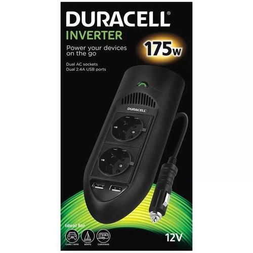 Duracell 175W Power Inverter with Dual AC and USB Sockets