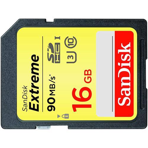 SanDisk 16GB Extreme SDHC Speicherkarte UHS-1 U3 - 90Mb/s (Doppelpack)