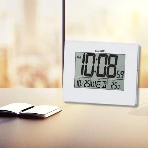 Seiko LCD Alarm Calendar Clock - White