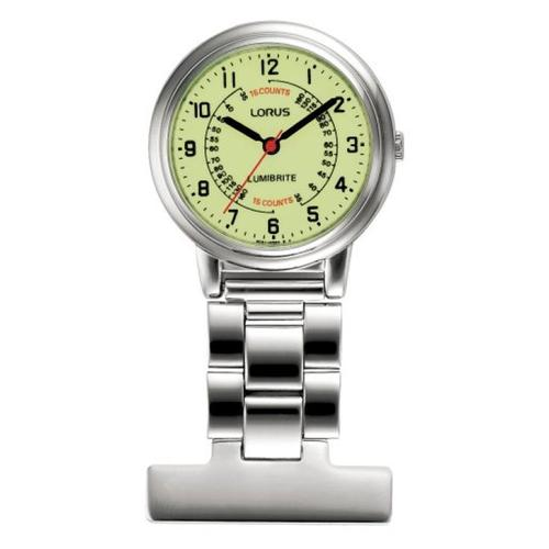 Nurses Fob Watch - Silver with Flower Pattern Dial