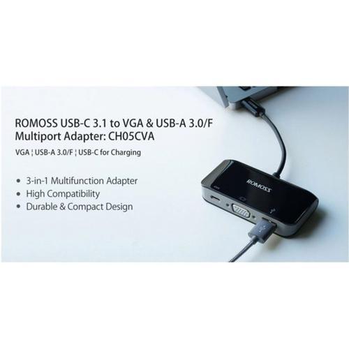 Romoss USB-C 3.1 to VGA & USB-A 3.0F Multiport Adapter - Black