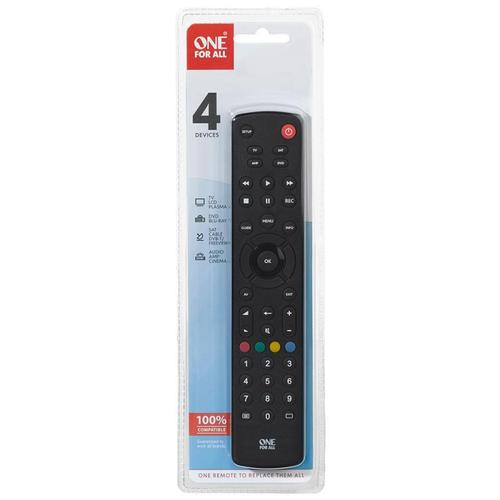 One For All Contour Universal 4 in 1 Remote Control - Black