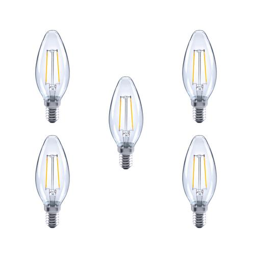 Integral LED Glass Candle Bulb E14 2.8W (25W) 2700K Non-Dimmable Lamp - 5 Pack