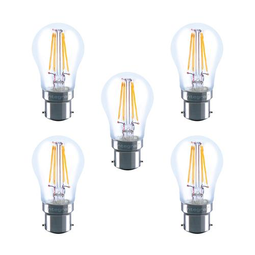 Integral LED Full Glass Mini Globe B22 4.5W (40W) 2700K Dimmable Lamp - 5 Pack