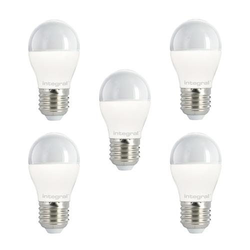 Integral LED Mini Globe E27 5.5W (40W) 2700K Non-Dimmable Frosted Lamp - 5 Pack