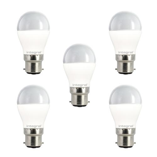 Integral LED Mini Globe B22 5.5W (40W) 2700K Non-Dimmable Frosted Lamp - 5 Pack