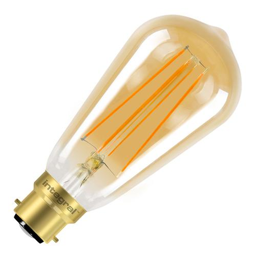 Integral ST64 LED Vintage Globe Bulb B22 5W (40W) 1800K (Ultra-Warm) Dimmable Lamp