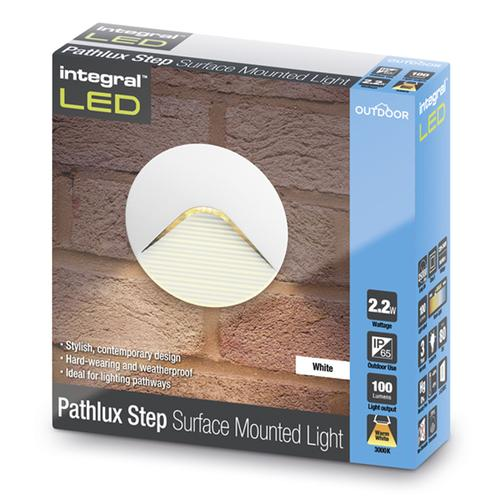 Integral Outdoor PathLux Step Surface Light 2.2w (100lm) Warm White - White