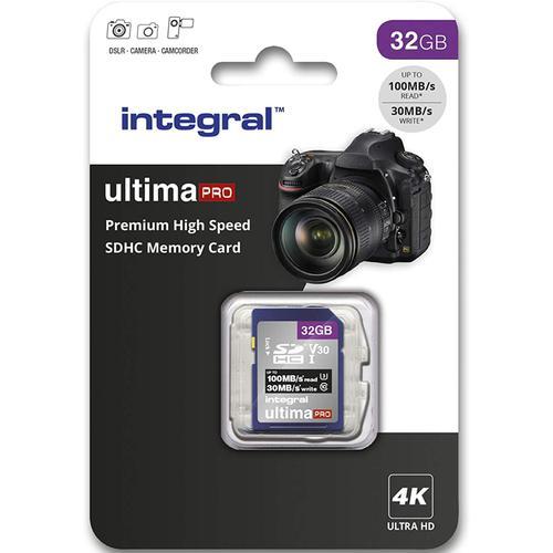 Integral 32GB UltimaPRO V30 Premium SD Card (SDHC) UHS-I U3 - 100MB/s