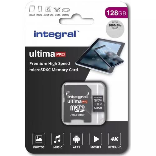 Integral 128 GB UltimaPRO V30 Premium Micro SD Karte (SDXC) UHS-I U3 + Adapter