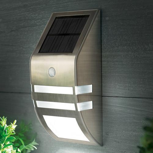 Solar PIR Sensor Outdoor LED Light - Stainless Steel