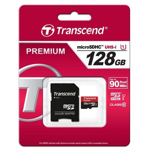 Transcend 128GB Premium Micro SD Card (SDXC) UHS-I U1 - 90MB/s