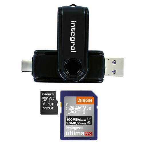 Integral USB 3.1 + USB-C SD and Micro SD Card Reader - Black