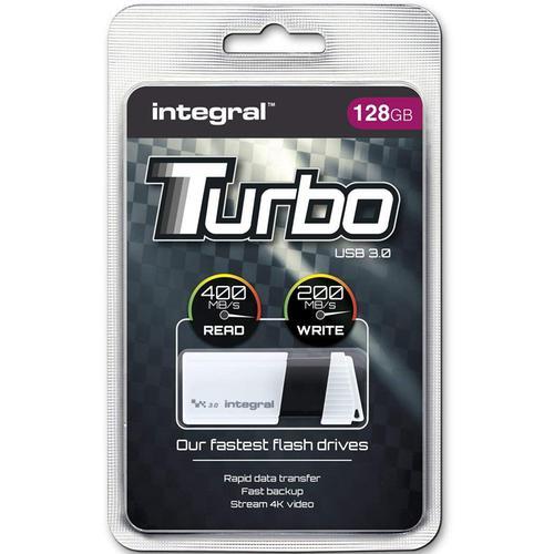 Integral 128GB Turbo USB 3.0 Flash Drive - White - 400MB/s
