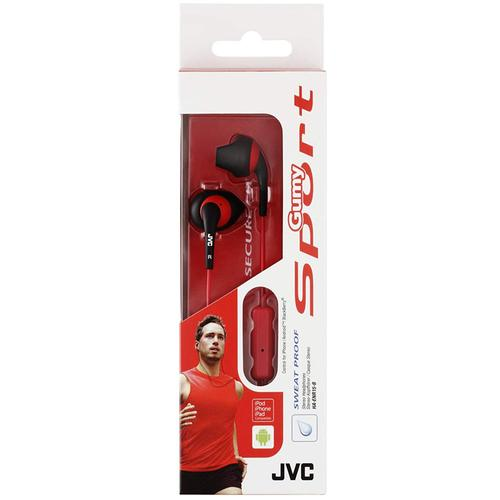 JVC Gumy Sport In-Ear Headphones with Remote & Mic - Red/Black