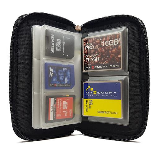 MyMemory Card Wallet for Memory Cards 22 Slots Carrying Case - Black