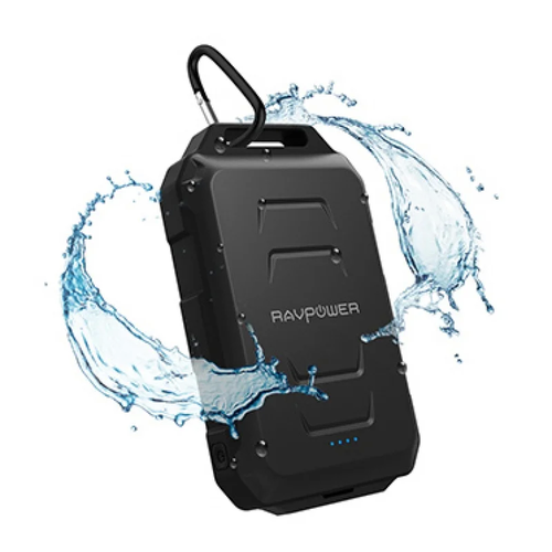 RAVPower 2.4A 10050mAh Waterproof Portable Power Bank - Black
