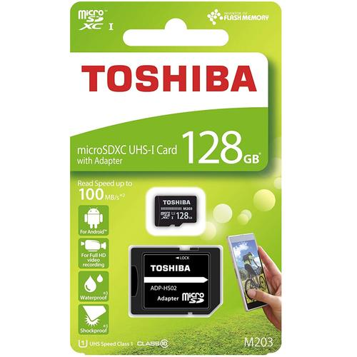 Toshiba 128GB M203 Micro SD (SDXC) Card UHS-I U1+ Adapter - 100MB/s