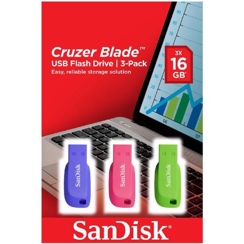 SanDisk 16GB Cruzer Blade USB Flash Drive - Blue/Pink/Green - 3 Pack