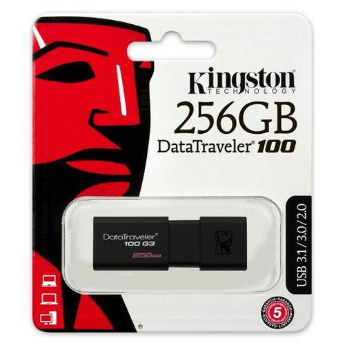 Kingston 256GB DataTraveler 100 G3 USB 3.0 Flash Drive - 130MB/s