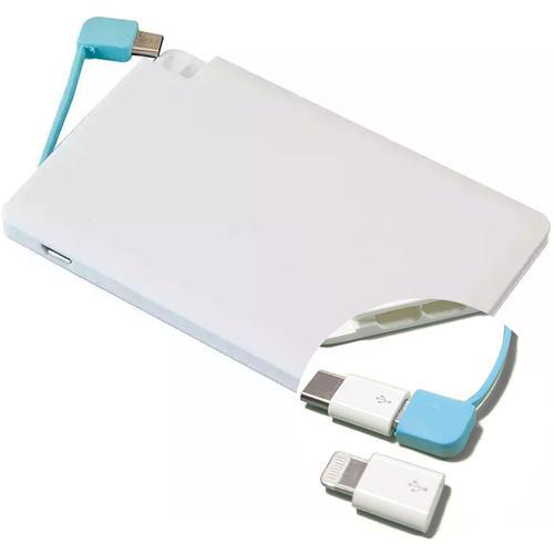 Kreditkarte Power Bank 2000mAh + USB-C & Lightning-Anschlüsse