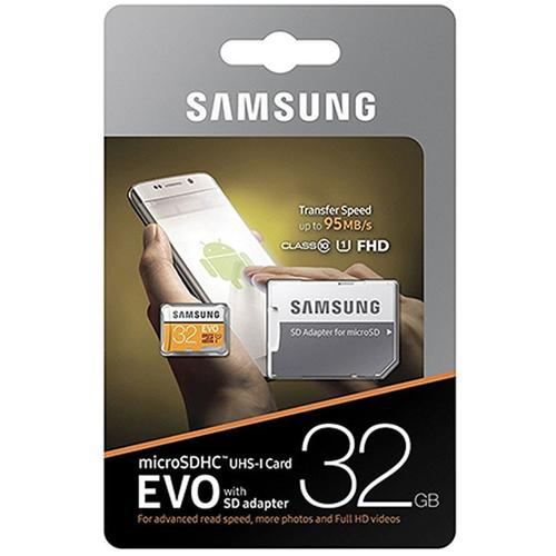 Samsung 32GB EVO Micro SD Card (SDHC) UHS-I U1 + Adapter - 95MB/s