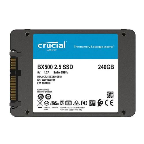 "Crucial 240GB BX500 Internal 2.5"" SATA  SSD Drive - 540MB/s"