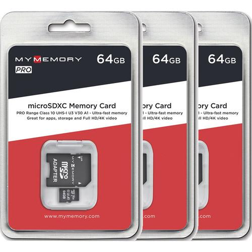 MyMemory 64GB V30 PRO Micro SD Karte (SDXC) UHS-1 U3 + Adapter - 3er Pack - 100MB/s
