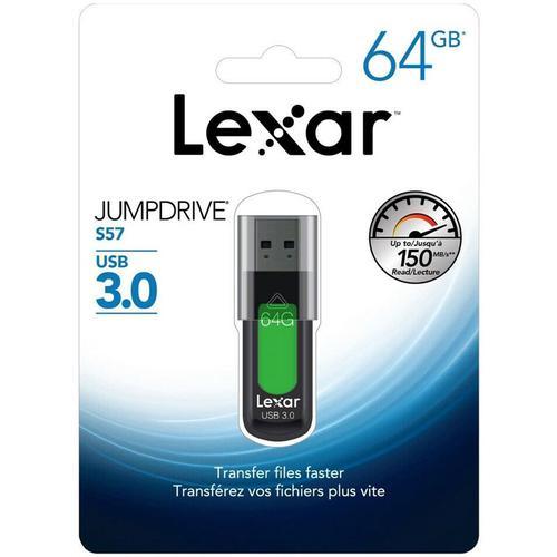 Lexar 64GB JumpDrive S57 USB 3.0 Flash Drive - 150MB/s