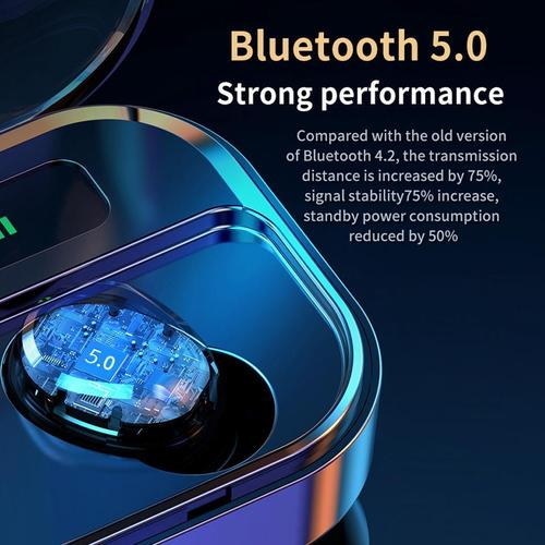 M7S TWS Touch Control Bluetooth 5.0 Wireless Earphones with Charging Case - Black