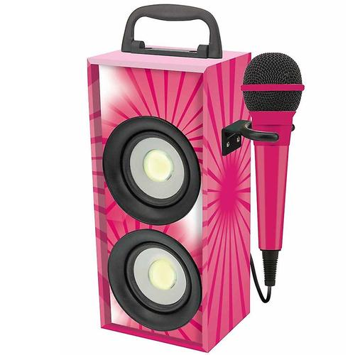 Lexibook iParty Mini Bluetooth Karaoke Tower with Microphone - Pink