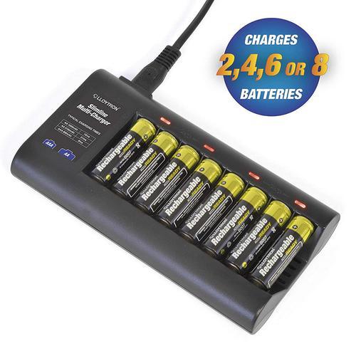 Lloytron Slimline Battery Charger + 4 x AA (1300mAh) & 4 x AAA (900mAh) Batteries