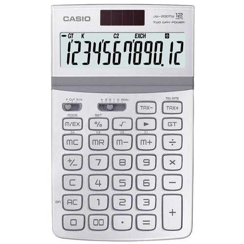 Casio 12 Digit Desk Calculator with Tilt Display - White