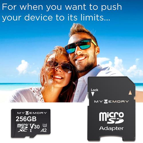 MyMemory 256GB V30 PRO Micro SD Card (SDXC) A2 UHS-1 U3 + Adapter - 180MB/s