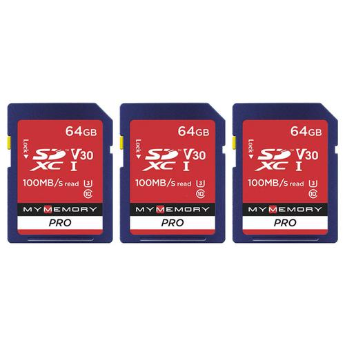 MyMemory 64GB V30 PRO High Speed SD Card (SDXC) UHS-1 U3 - 100MB/s - 3 Pack