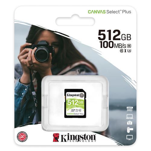 Kingston 512GB Canvas Select Plus V30 SD Card (SDXC) UHS-I U3 - 100MB/s