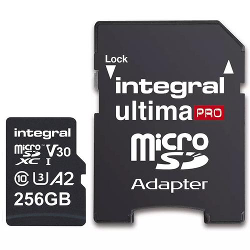 Integral 256GB UltimaPRO A2 V30 High Speed Micro SD Card (SDXC) UHS-I U3 + Adapter - 180MB/s