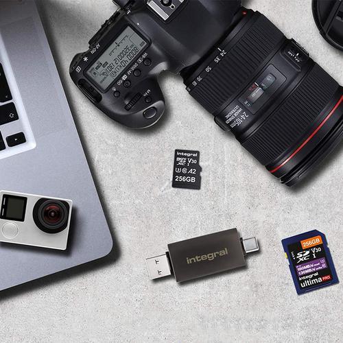 Integral USB 3.0 + USB-C OTG SD and Micro SD A2 Card Reader - 180MB/s