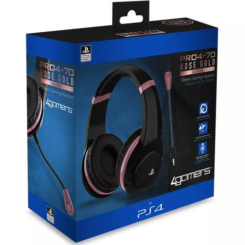 4Gamers PRO4-70 PS4 Headset Rose Gold Edition - Black