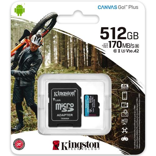Kingston 512GB Canvas Go Plus Micro SD Card (SDXC) UHS-I U3 V30 A2 + Adapter - 170MB/s