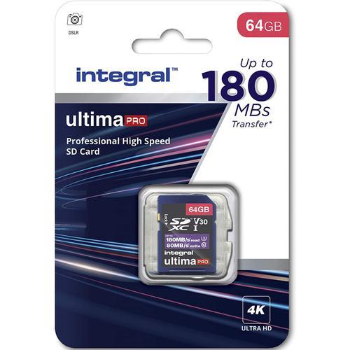 Integral 64GB UltimaPRO V30 4K/8K SD Card (SDXC) UHS-I U3 - 180MB/s