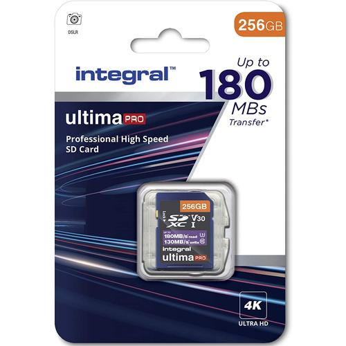 Integral 256GB UltimaPRO V30 4K/8K SD Card (SDXC) UHS-I U3 - 180MB/s
