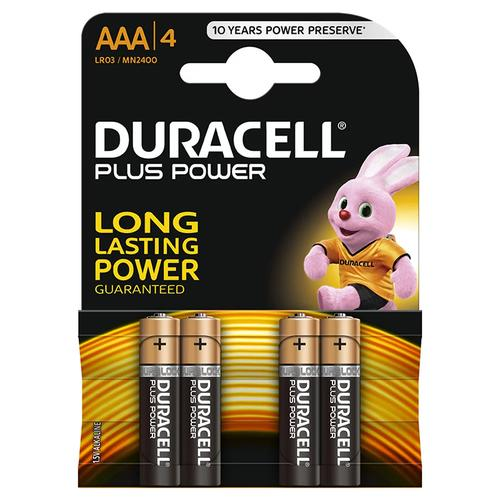 Duracell Plus Power Size AAA Baterries Alkaline 1.5v - 4 Pack