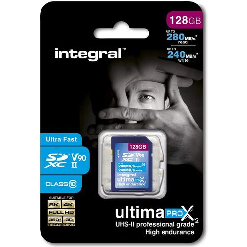 Integral 128GB Ultima PRO X2 SD Card SDXC UHS-II V90 Class 10 - 280MB/s