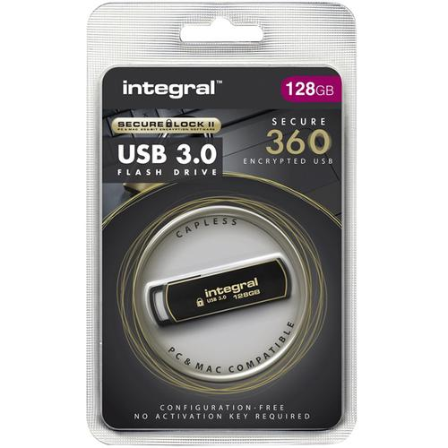 Integral 128GB Secure 360 Secure Lock II Encrypted USB 3.0 Flash Drive - 80MB/s