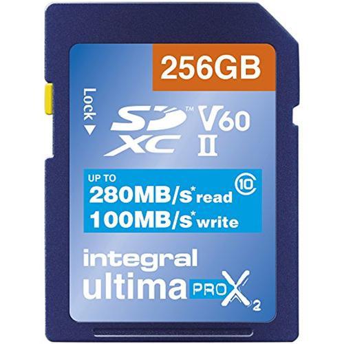 Integral 256GB UltimaPro X2 SD Card SDXC UHS-II U3 V60 8K/4K Full HD - 280MB/s