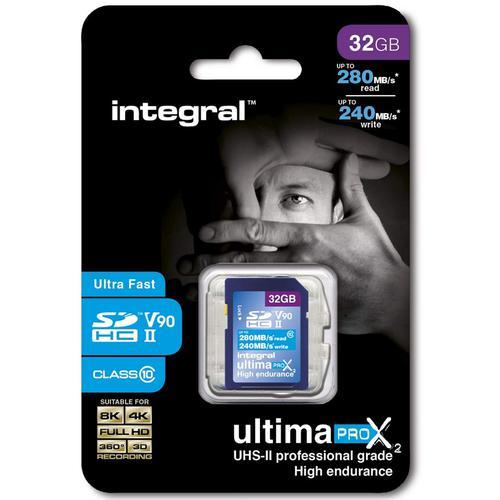 Integral 32GB UltimaPro X2 SD Card SDHC UHS-II U3 V90 - 280MB/s