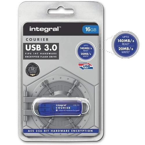 Integral 16GB Courier FIPS 197 256-Bit AES Hardware Encryption USB 3.0 Flash Drive - 140MB/s