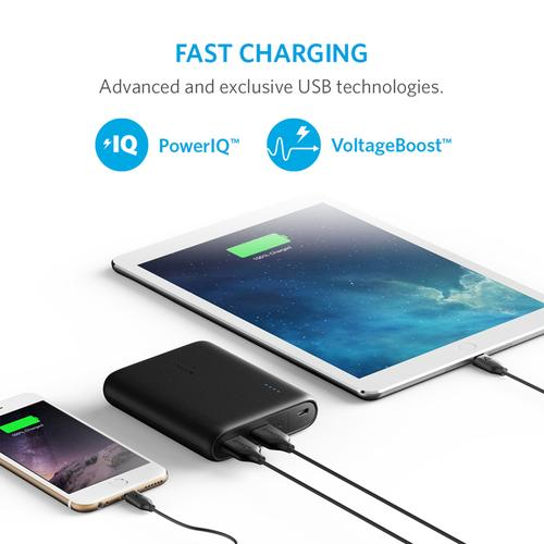 Anker PowerCore 3A 10400mAh Portable Power Bank with PowerIQ - Black